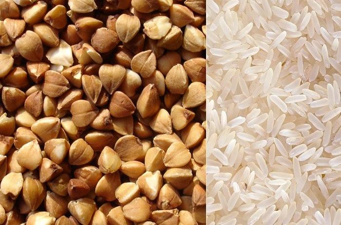 Гречневая и рисовая крупы для приготовления каши