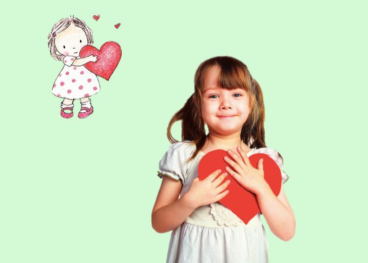 девочка и сердце на рисунке
